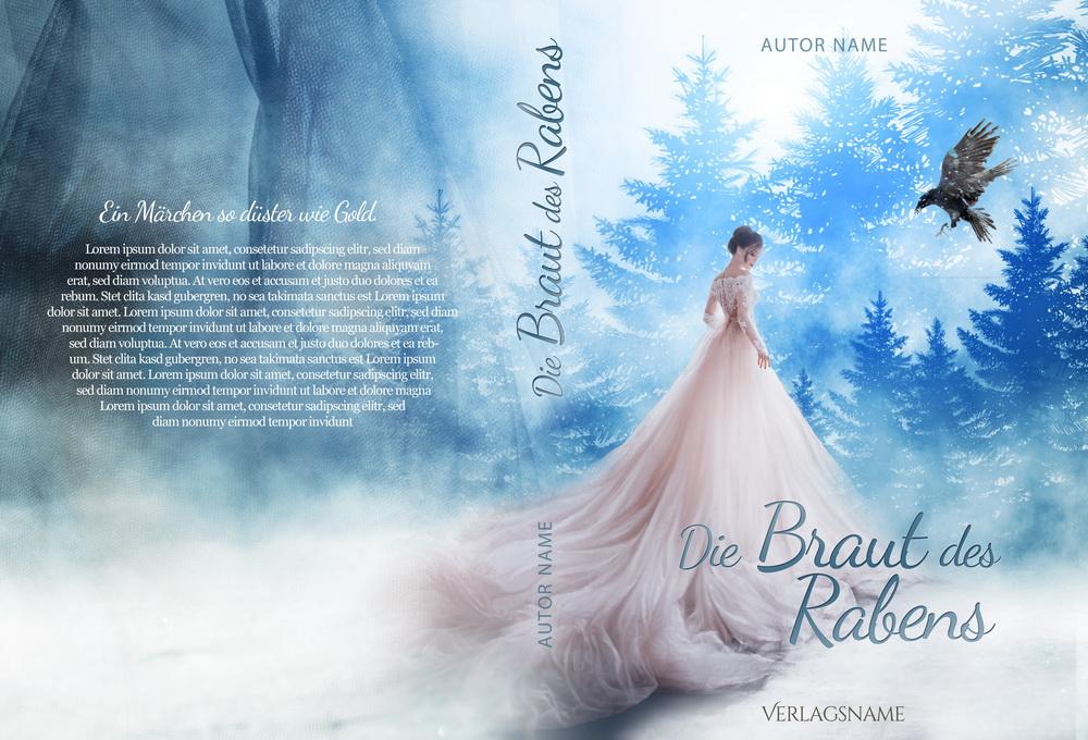 Premade Buchcover Braut im Schnee Fantasy mit Rabe