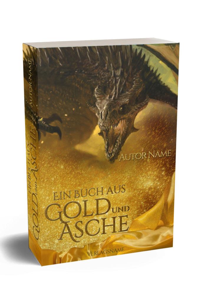 Premade Buchcover Gold mit Drache Fantasyroman