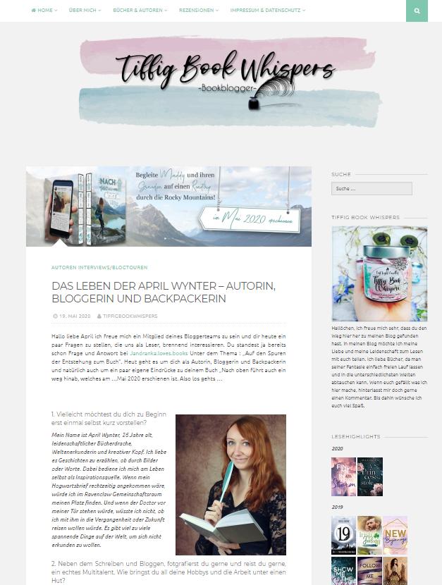 Interview mit April Wynter zu Nach oben führt auch ein Weg hinab auf dem Blog Tiffig Book Whispers
