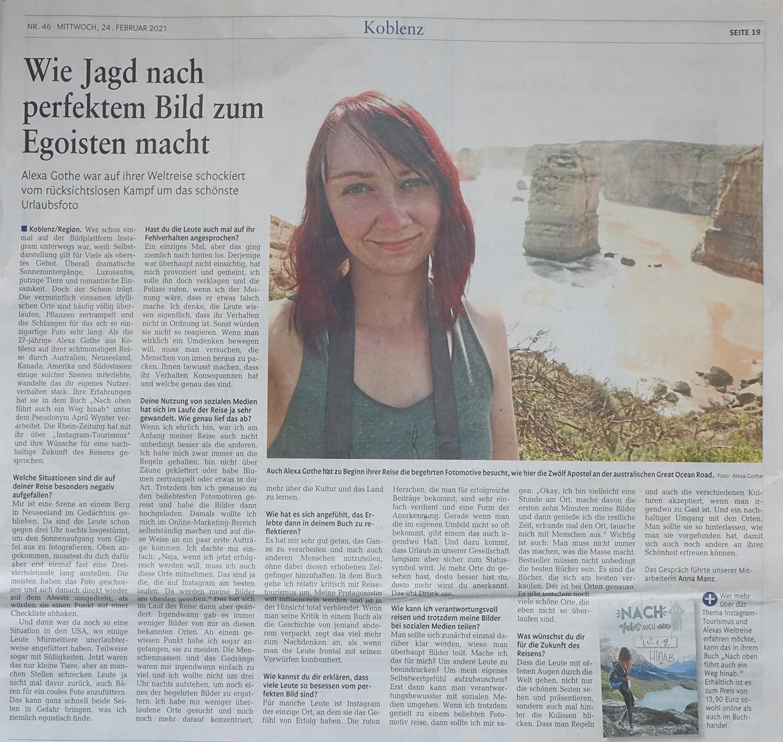 Interview Instagram Tourismus Rhein Zeitung 2020